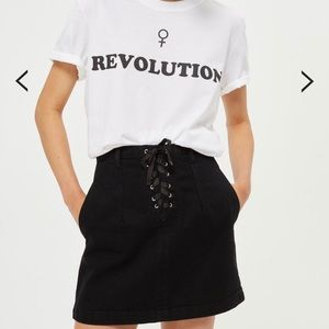 Topshop Black Lace Up A-Line Denim Mini Skirt